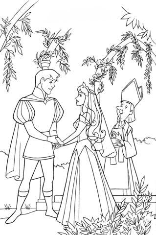aurora para colorear 12 en la boda con el principe