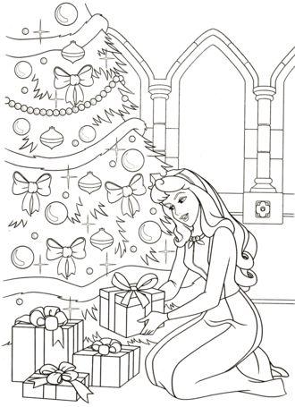 aurora para colorear 14 poniendo regalos de navidad en el arbol