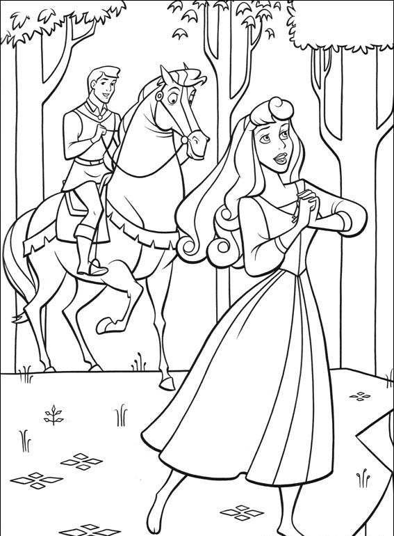aurora para colorear 18 al lado del principe a caballo