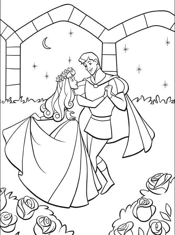 aurora para colorear 19 bailando con el principe