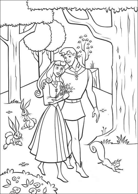 aurora para colorear 23 paseando por el bosque con el principe