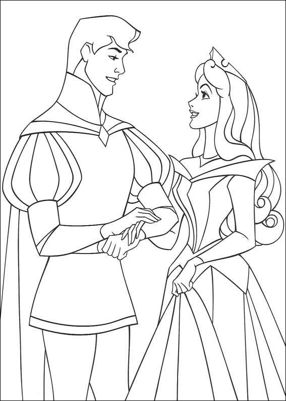 aurora para colorear 24 con el principe del brazo
