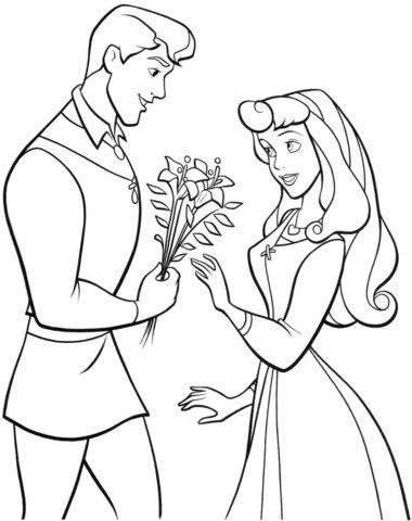 aurora para colorear 5 con el principe dandole un ramo de flores
