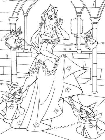 aurora para colorear 9 con sus hadas madrinas en el castillo