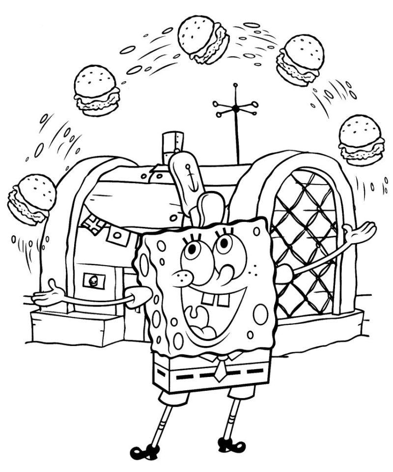 bob esponja colorear 16 malabarismos con cangreburgers