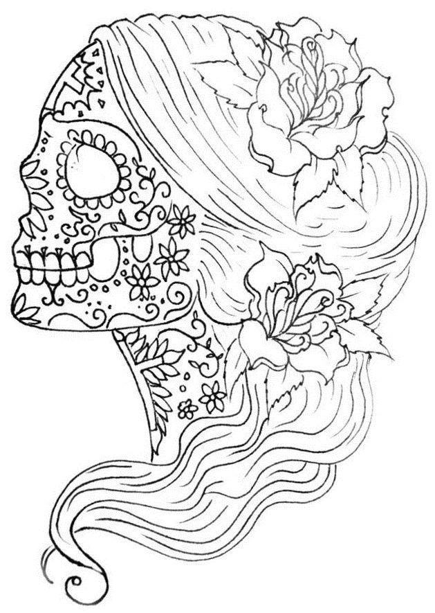 calaveras mexicanas para colorear 31 mujer