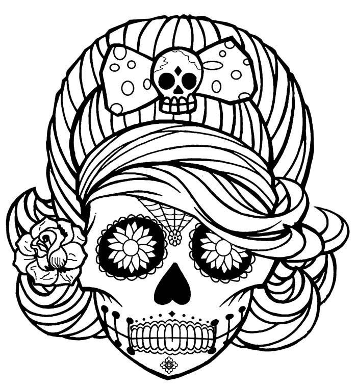 calaveras mexicanas para colorear 5 chica