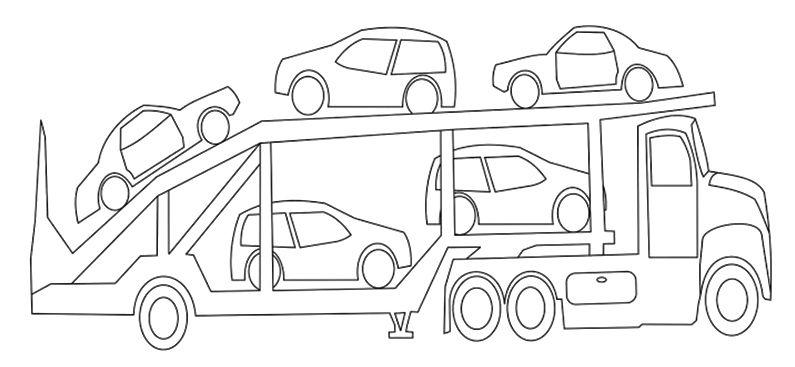camiones para colorear 15 camion con coches