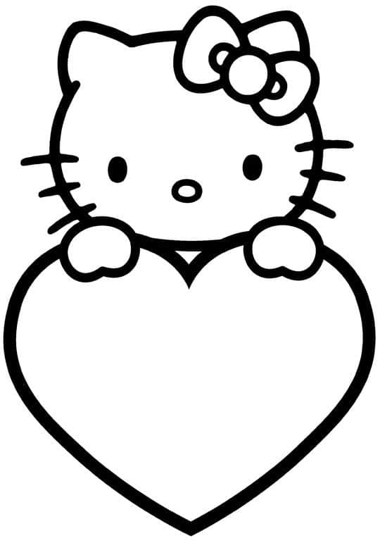 corazones para colorear 10 con hello kitty