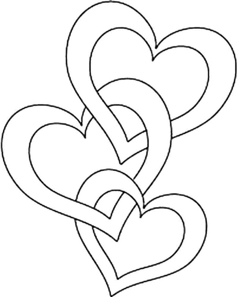 corazones para colorear 11 3 corazones entrelazados