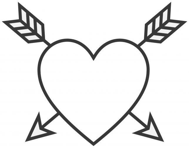 corazones para colorear 15 con flechas