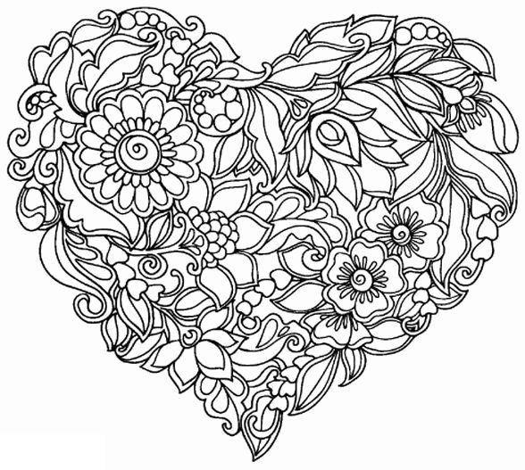 corazones para colorear 16 corazon de flores