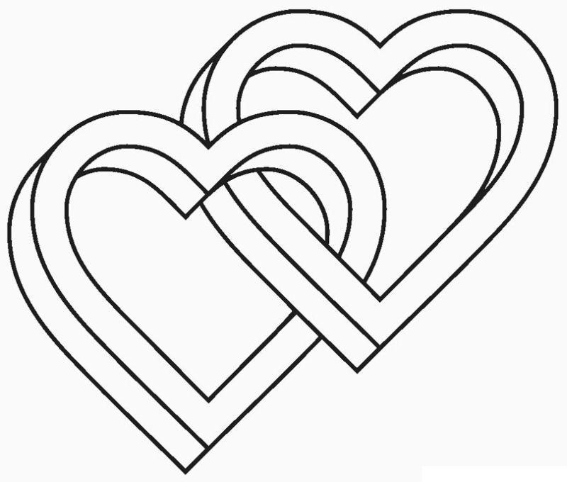 corazones para colorear 17 dos corazones entrelazados