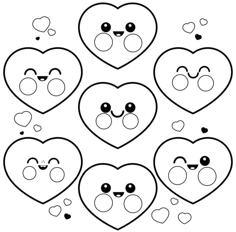 corazones para colorear 24 corazones kawaii