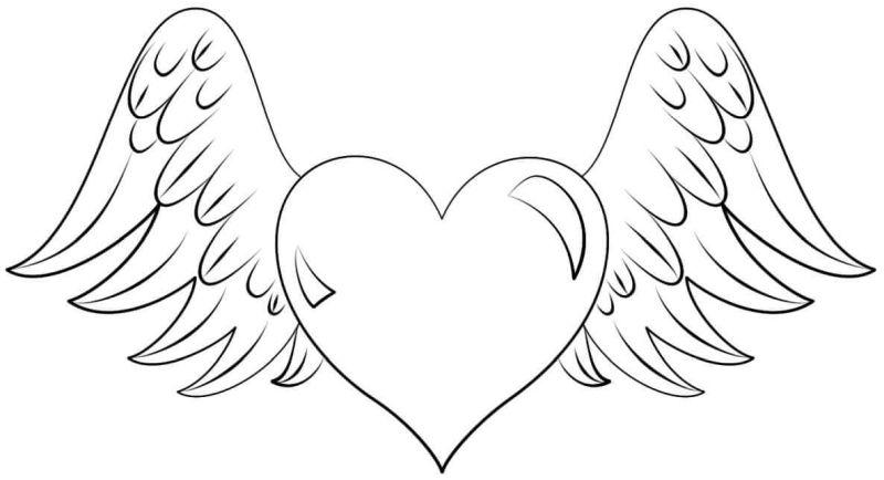 corazones para colorear 37 con alas