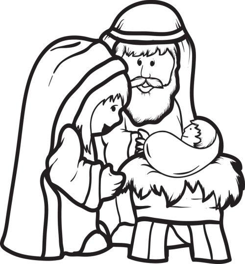 dibujos de navidad para colorear 27 nino jesus con san jose y la virgen maria