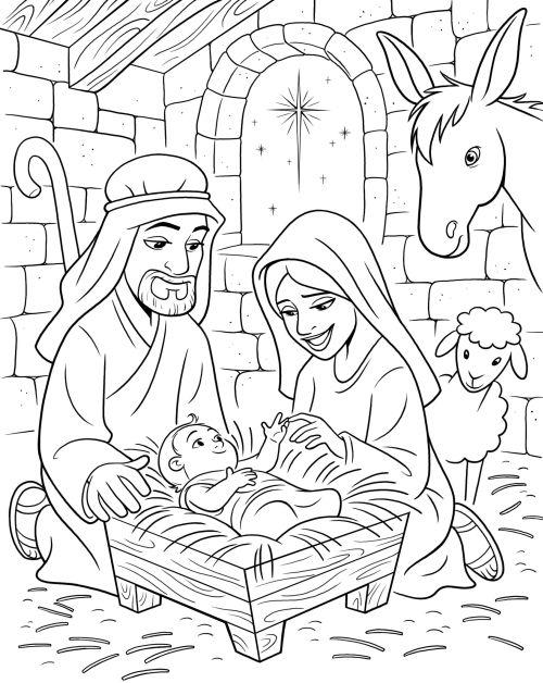 dibujos de navidad para colorear 32 portal de belen