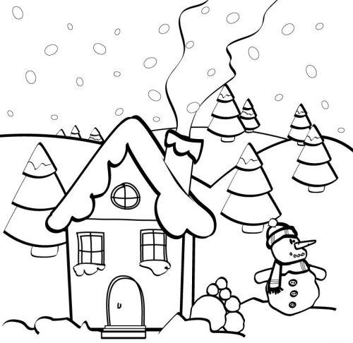 dibujos de navidad para colorear 42 casas en navidad