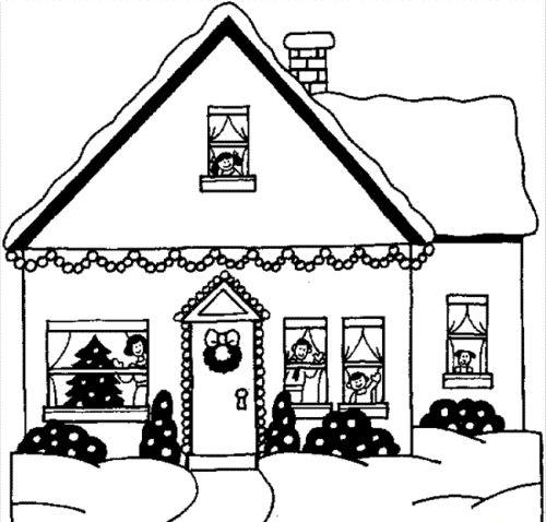 dibujos de navidad para colorear 44 casa en navidad
