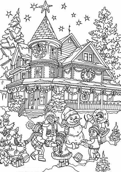dibujos de navidad para colorear 45 casa en navidad