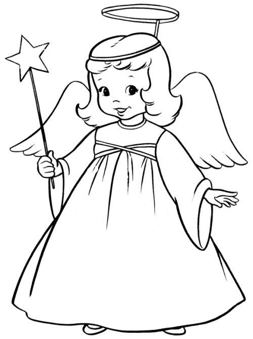 dibujos de navidad para colorear 5 angel de navidad