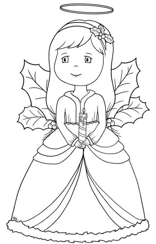 dibujos de navidad para colorear 6 angeles de navidad