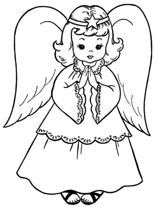 dibujos de navidad para colorear 7 angeles de navidad