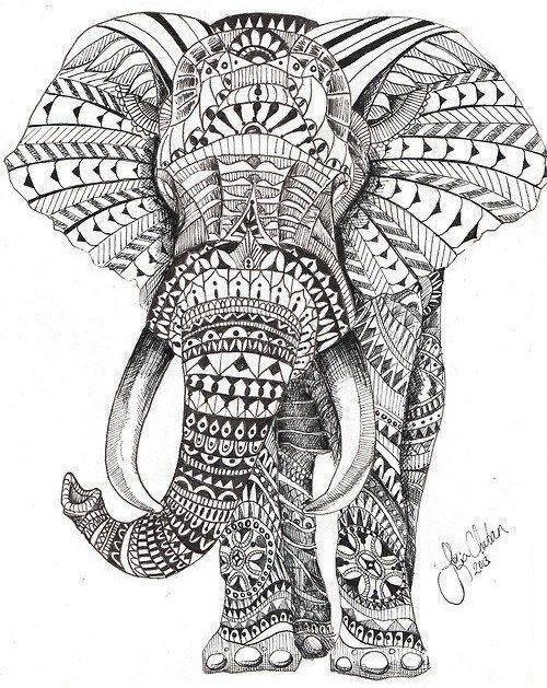 dibujos para colorear dificiles 12 elefante