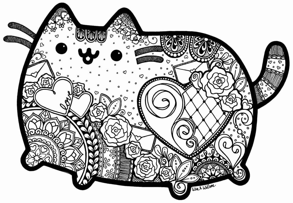 dibujos para colorear dificiles 18 gato kawaii