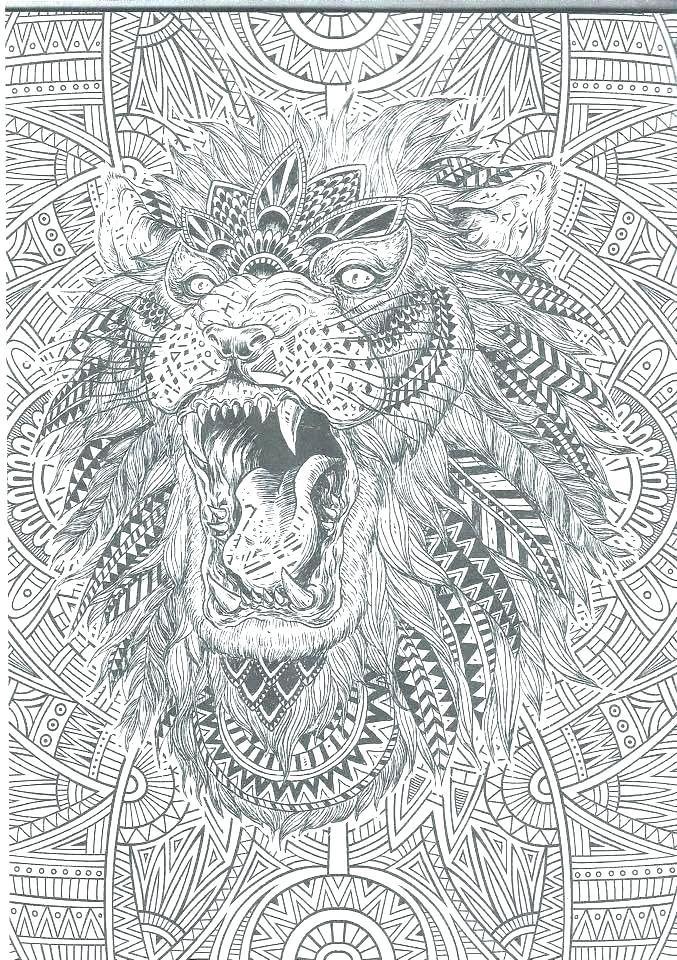 dibujos para colorear dificiles 2 leon con motivos tribales