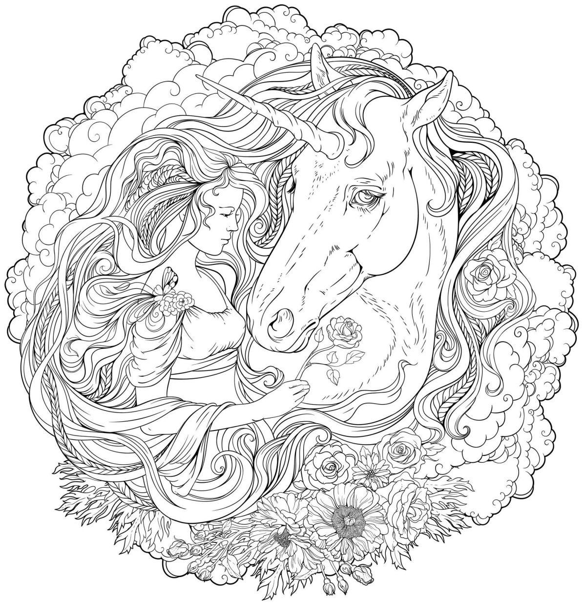dibujos para colorear dificiles 22 chica y unicornio