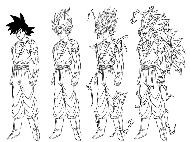 goku para colorear 34 transformacion a superguerrero