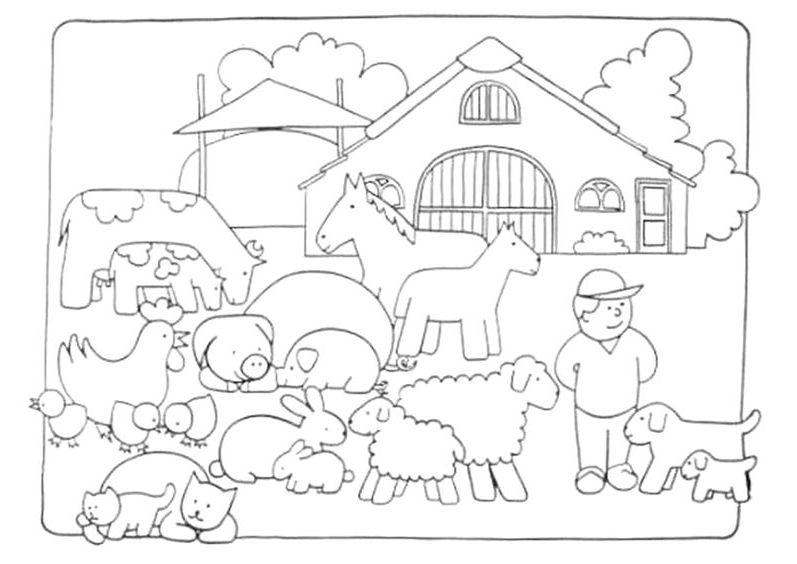 granja para colorear 7