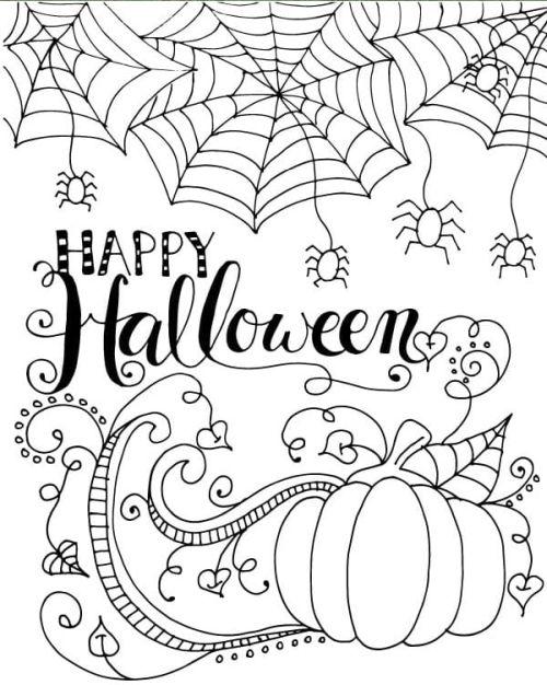 halloween para colorear 12 happy halloween telaranas y calabaza