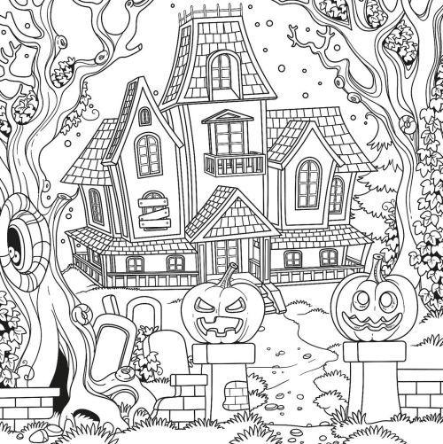 halloween para colorear 13 casa y calabazas