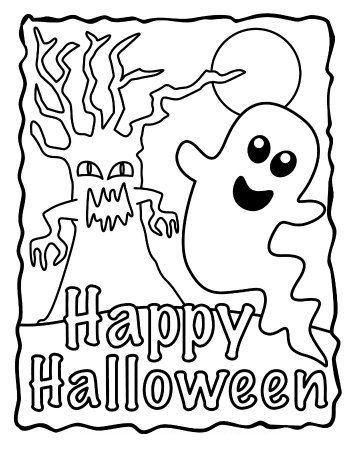 halloween para colorear 14 arbol y fantasma happy halloween