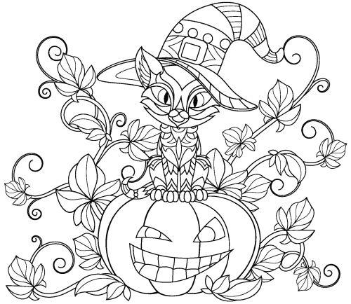 halloween para colorear 17 gato subido a una calabaza