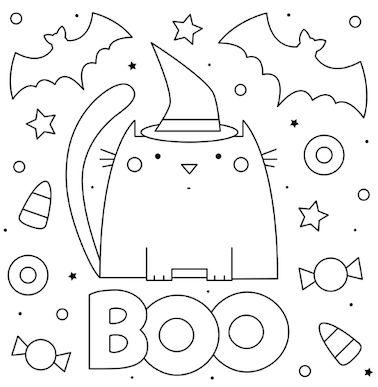 halloween para colorear 18 gato con sombrero boo