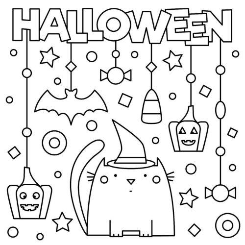 halloween para colorear 19 gato y adornos