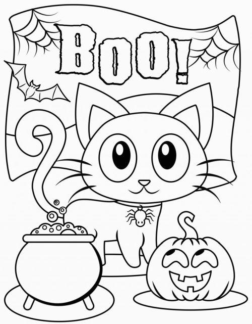 halloween para colorear 21 gatito pocion y calabaza