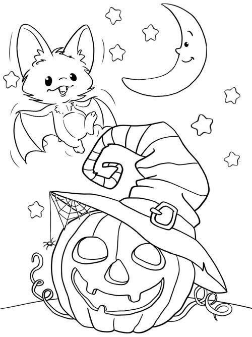 halloween para colorear 24 murcielago luna y calabaza