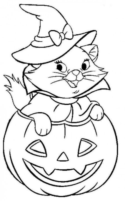 halloween para colorear 25 gatito en calabaza
