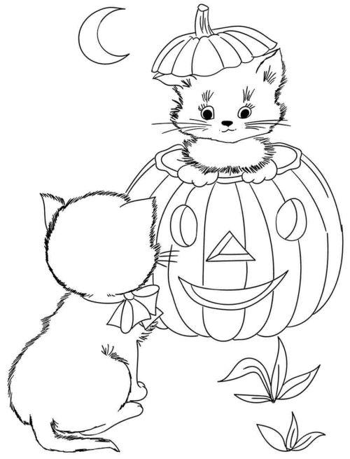 halloween para colorear 29 gatitos y calabaza