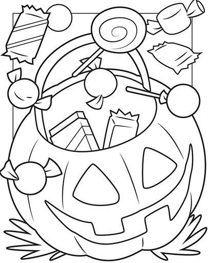 halloween para colorear 31 calabaza con caramelos