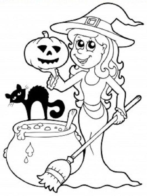 halloween para colorear 34 bruja calabaza y gato
