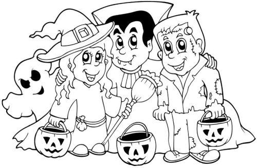 halloween para colorear 35 ninos disfrazados
