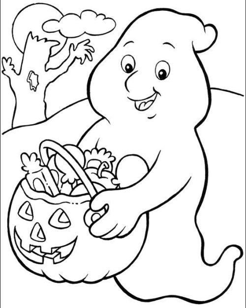 halloween para colorear 39 fantasma con calabaza