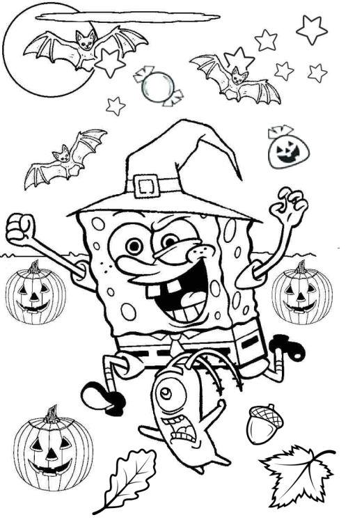 halloween para colorear 4 bob esponja