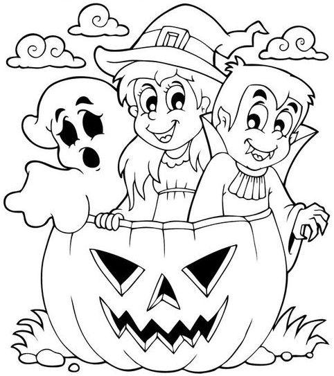 halloween para colorear 40 ninos fantasma y calabaza