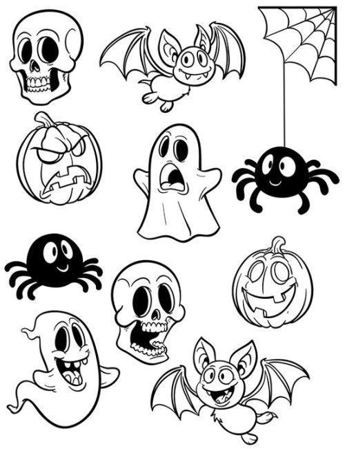 halloween para colorear 48 fantasmas calaveras aranas calabazas y murcielagos
